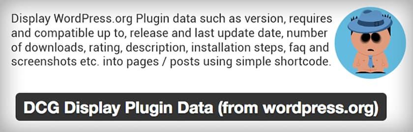 WordPress plugin - DCG Display Plugin Data